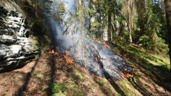 V národním parku České Švýcarsko hoří les. Hasiči vyhlásili 3. stupeň poplachu