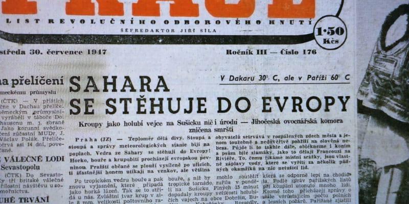 Vedra v roce 1947. Střední Evropa i Praha se proměnily v Saharu.