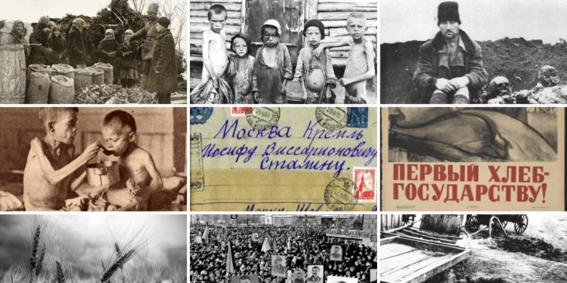 Koláž z dokumentů k hladomoru v Rusku, který v roce 1947 výrazně prohloubila potravinová pomoc Stalina bratrskému Československu. Foto NOKTA, Ruská federace