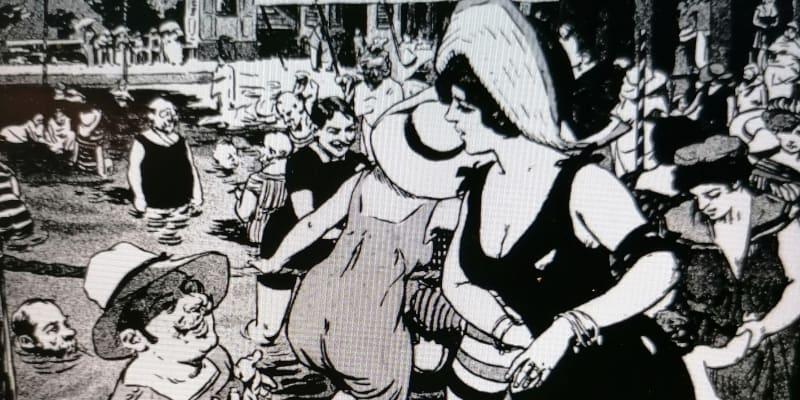 Vedra v roce 1911, na plovárnách byly takové tlačenice, že u vchodů museli asistovat strážníci. A vše reflektovaly i oblíbené Humoristické listy. Foto Národní knihovna