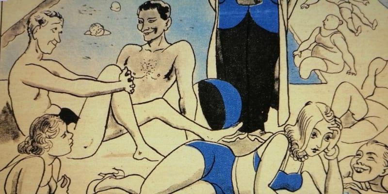 Vedra v roce 1947, na plovárnách opět hlava na hlavě, jak dokazuje satirický časopis Dikobraz. Na plovárních neměl nikdo ani tušení o aktuálním hladomoru v Sovětském svazu. Foto Národní knihovna