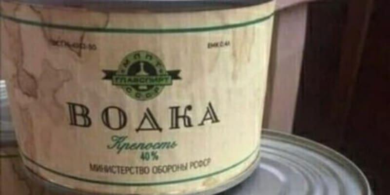 Vodka v konzervě, údajně se prodávala i v sovětských obchodech v Olomouci. Foto Fórum sovětských veteránů