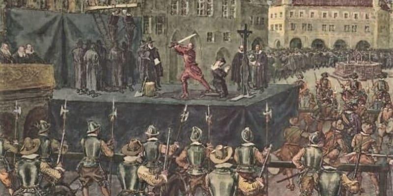 Staroměstská exekuce, poprava 27 rebelů 21. července 1621. Někteří byli sťati, jiní oběšeni (autor: Školní výuková tabule ze sbírek Vlastivědného muzea v Šumperku).
