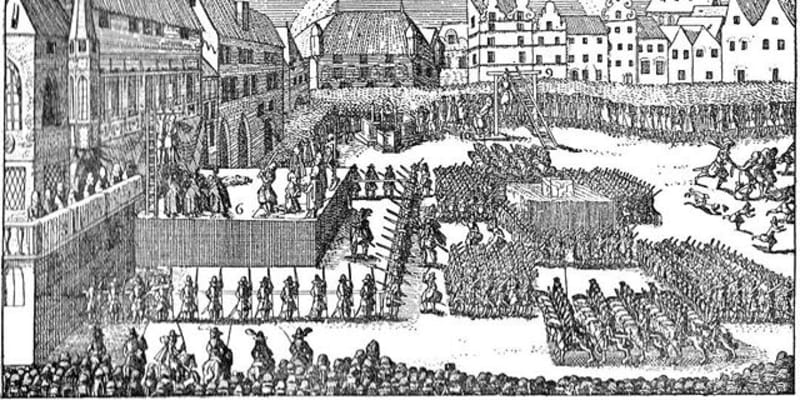 Staroměstská exekuce, poprava 27 rebelů 21. července 1621. Někteří byli sťati, jiní oběšeni (autor: Eduard Herold (1820-1895), dle starodávného dřevorytu, Public domain, via Wikimedia Commons).