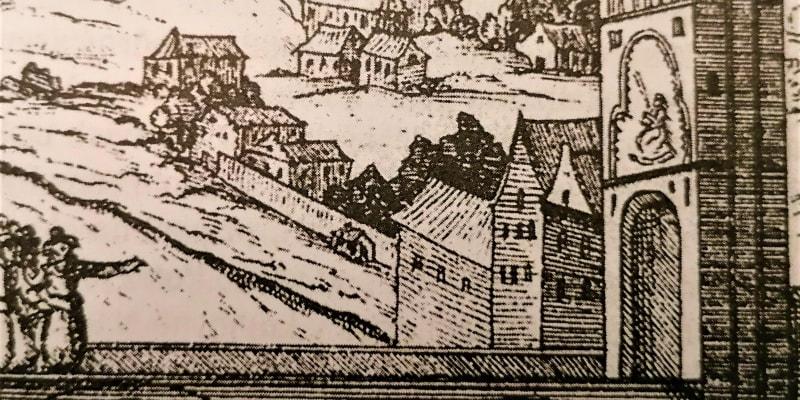 Dvanáct lebek popravených povstalců vystavených téměř na vrcholu Staroměstské mostecké věže na Karlově mostě. Visely tam 10 let (autor: dobová ilustrace ke kronice Pavla Skály ze Zhoře).