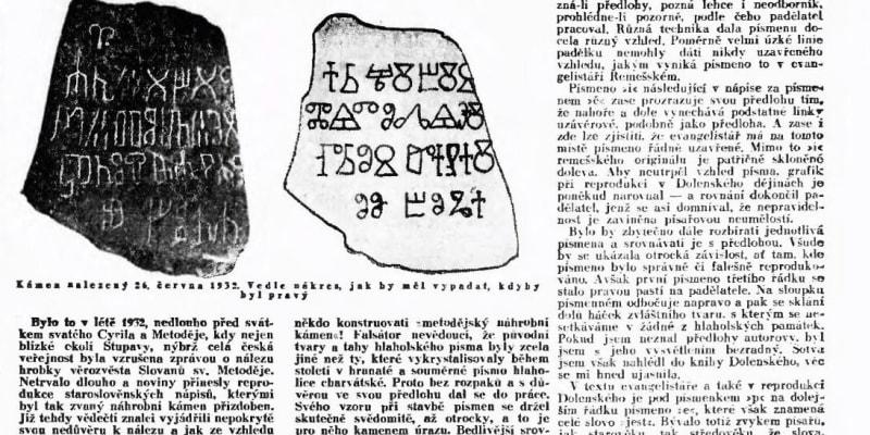 Odhalení podvodu s falešným náhrobním kamenem sv. Metoděje ze Stupavy v Lidových novinách v roce 1933.