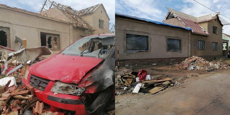 Lužice 25. června, Velkomoravská ulice. A Stejné místo. Zmizela zničená auta, obnovují se střechy.