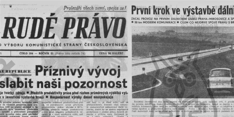 Rudé právo referuje o otevření prvního úseku dálnice, 12. července 1971. Foto Archiv Akademie věd