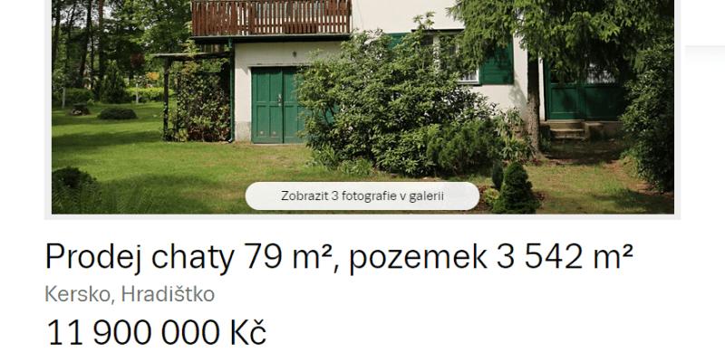 Ukázka inzerátu na prodej Hrabalovy chaty