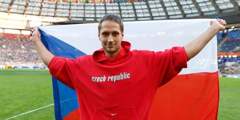 Vítězslav Veselý slaví oštěpařské vítězství na mistrovství světa v roce 2013.