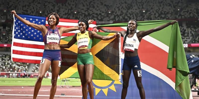 Americká sprinterka doběhla za Elaine Thompsonovou-Herahovou z Jamajky a stříbrnou Christine Mbomaovou.