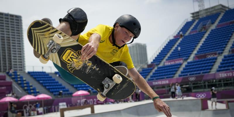 Jeden z triků Kierana Wooleyho během jízdy na olympijských hrách.