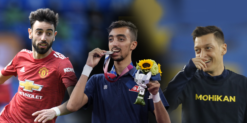 Mohamed Khalil Jendoubi (uprostřed) si na olympijských hrách vysloužil stříbro v taekwondu. Podle mnohých fotbalových příznivců je podobný Brunovi Fernandesovi (vlevo) i Mesutu Özilovi. Dost vtipálků zmiňuje, že je medailista kombinací obou hráčů.