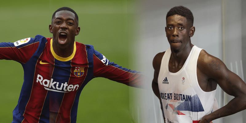 Ousmane Dembélé, zaměstnanec Barcelony, nezapře podobu s britským sprinterem Reecem Prescodem.