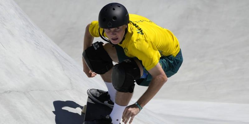 Kieran Wooley během závodu park skateboardingu na olympijských hrách.