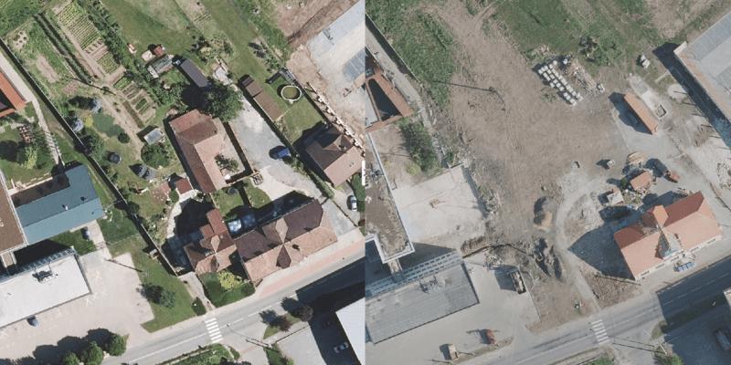 Po řádění tornáda se obce na jihu Moravy změnily k nepoznání. Takto vypadá obec Lužice v roce 2018 a měsíc po tornádu.