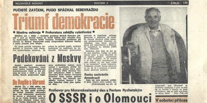 Moravskoslezský den z 23. srpna 1991 uvítal porážku puče v Moskvě.