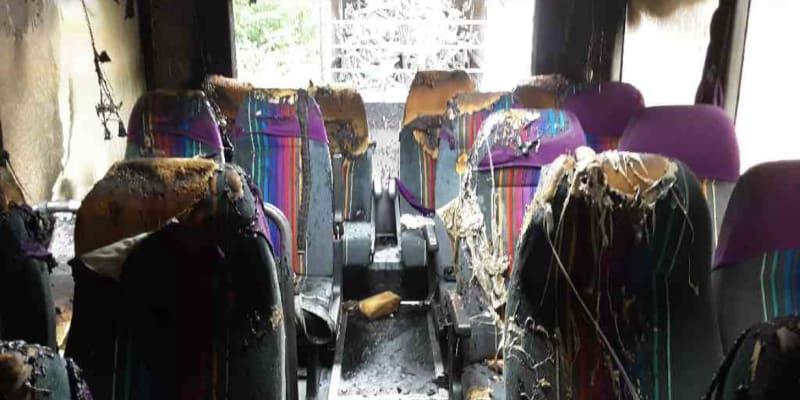 Požár autobusu na Šumpersku