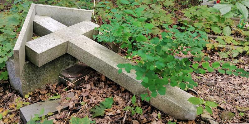Povalené a polámané náhrobky na německém hřbitově v Krnově-Chomýži. Září 2021