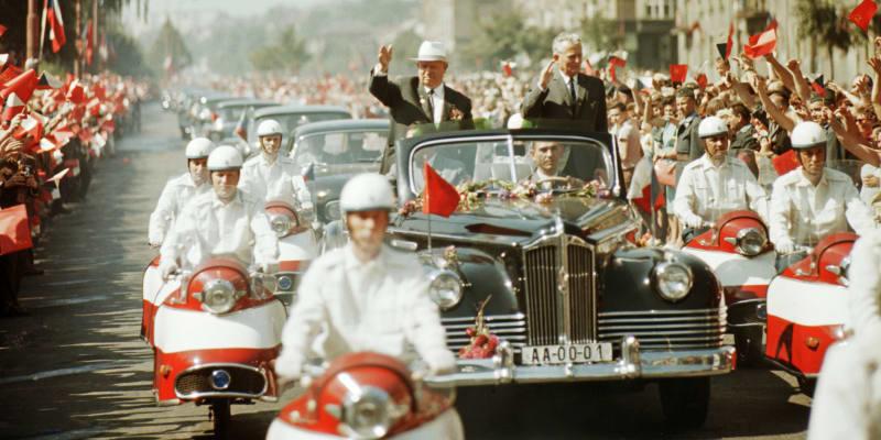 Nikita Chruščov a československý prezident Antonín Novotný