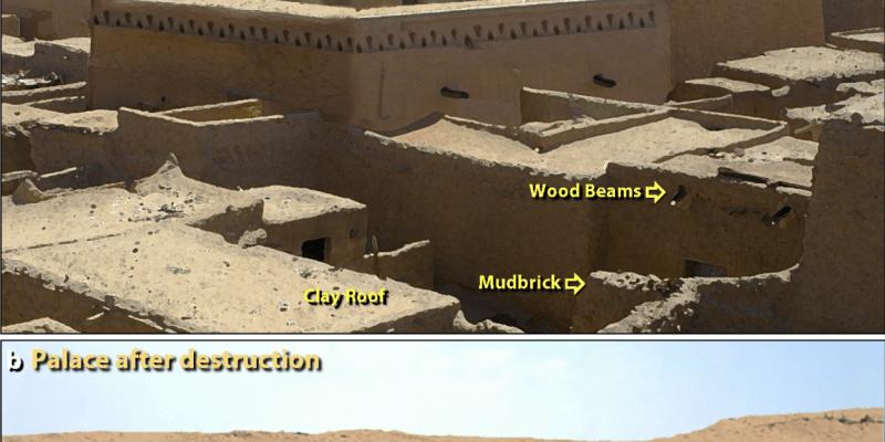 Vizualizace paláce ve zničeném starověkém městě v oblasti Tall el Hammam