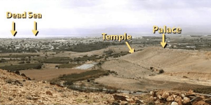 Lokalita středobodů zničeného města v oblasti Tall el Hammam.