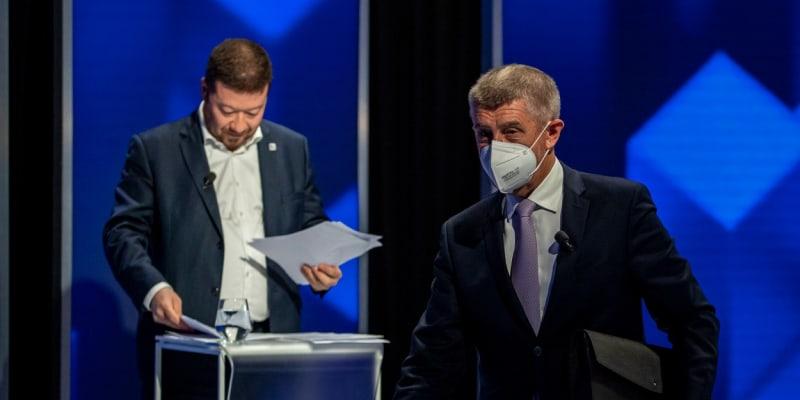 Andrej Babiš a Tomio Okamura při debatě na CNN Prima NEWS