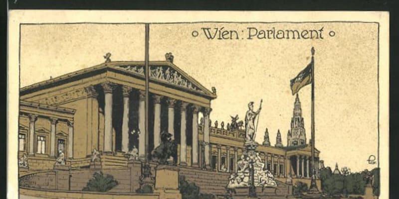 První svobodné volby si Češi a další národy Rakousko-Uherska vybojovali v roce 1907. Na pohlednici parlament (Reichsrat), v němž  roce 1907 usedlo i 108 českých poslanců