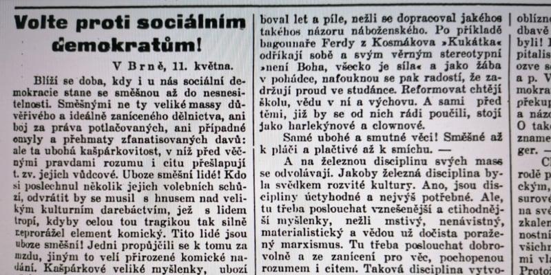 Agitace před prvními všeobecnými volbami v roce 1907 v Plzeňském deníku
